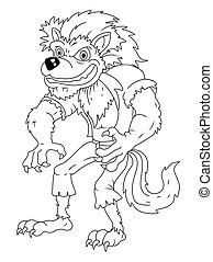 Black And White werewolf cartoon