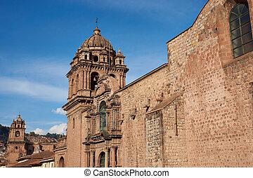 Iglesia La Merced - Red granite walls of the historic...