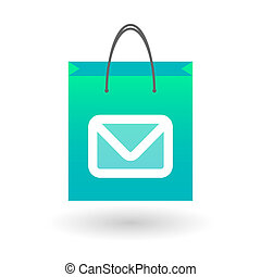 Shopping bag with a mail sign