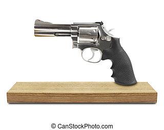 branca, madeira, isolado, fundo, revólveres