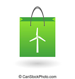 Shopping bag with a winf generator - Illustration of an...