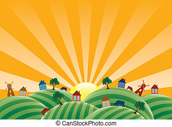vector agricultural landscape with farm fields