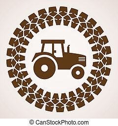 vector design of tractor tire print with symbol of tractor...