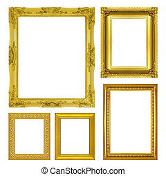 set antique gold frame isolated on the white background