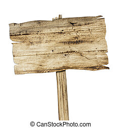 Wooden sign isolated on white. Wood old planks sign