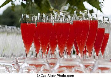 aperitif - stemware for non-alcoholic aperitif on tray