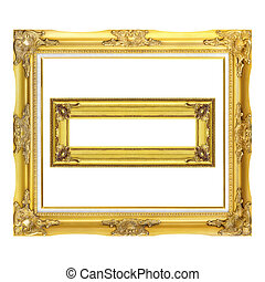 Two antique gold frame isolated on the white background