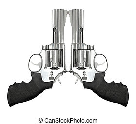 Two revolvers isolated on white background