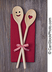 de madera, cucharas, cocina, dos