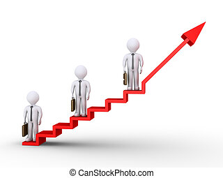 Businessmen standing on stairs of success - 3d businessmen...