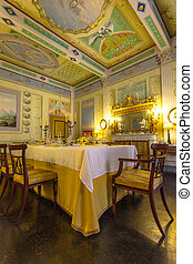 Italy, Historic Tuscany Style Dining Room in a Museum in Volterr
