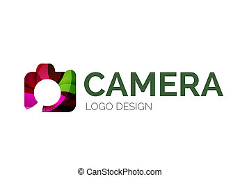 Camera logo design made of color pieces - Abstract camera...