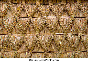 Intertwined Thatched Reed on on a Cottage