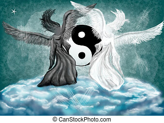Yin and Yang fantasy with the angels on the clouds