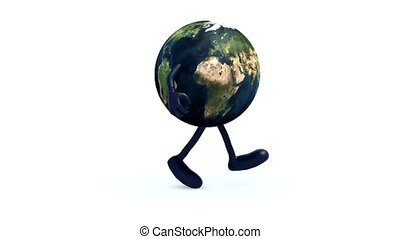 earth with arms and legs running, 3d animation loop