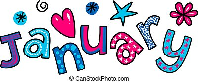 January Clip Art - Whimsical cartoon text doodle for the...