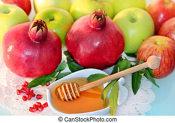honey, apples and pomegranate for the holiday of Rosh...