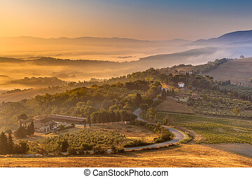 Morning Fog over Tuscan Countryside - Tuscany Village...