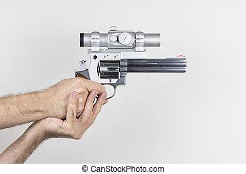 atirador, segura, 357, magnum, revólver