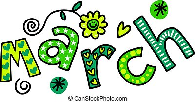 March Clip Art - Whimsical cartoon text doodle for the month...