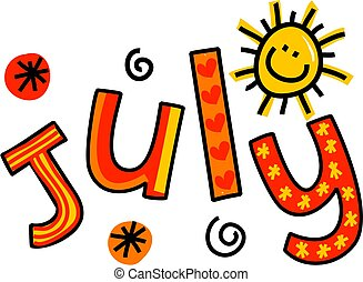 July Clip Art - Whimsical cartoon text doodle for the month...