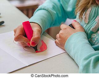 Girl Making Drawing