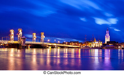Kampen City Blue Hour - River Bridge in the Historical City...