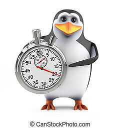 3d Penguin with a stopwatch - 3d render of a penguin with a...