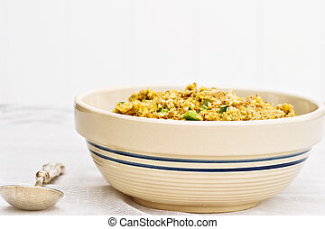 Uncooked stuffing - A bowl of uncooked stuffing ready for...
