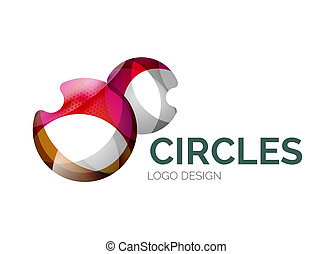 Abstract bubbles logo design made of color pieces - various...