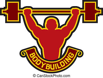 bodybuilding badge - weightlifter, bodybuilding label, body...