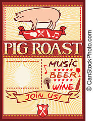 pig roast poster, barbecue party design, bbq barbecue poster