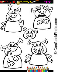 dog emotion set cartoon coloring page - Coloring Book or...