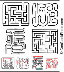 mazes or labyrinths diagrams set - Set of Mazes or...