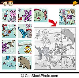 cartoon animals jigsaw puzzle game - Cartoon Illustration of...