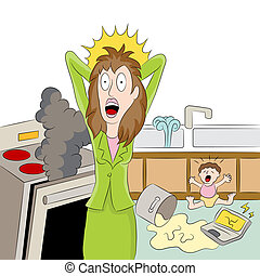 Stressed Working Mom - An image of a stressed out working...