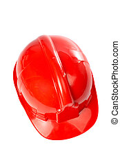 Plastic red hard hat