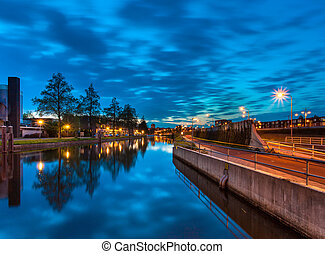 Groningen at Night, Netherlands - Cityscape during Blue...