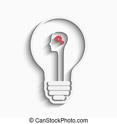 Human head in a bulb creating a new idea. Creative Idea....
