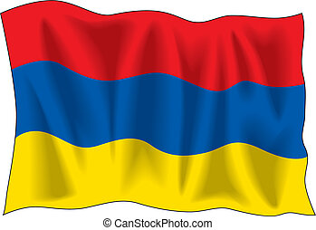 Armenian flag - Waving flag of Armenia isolated on white
