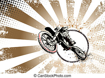 retro, Motocross, cartaz, fundo