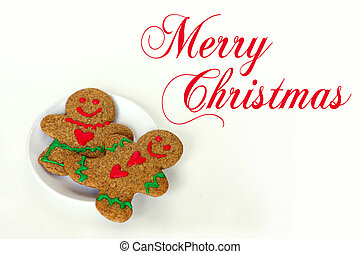 Christmas Gingerbread Man and Woman on Plate Isolated with Text