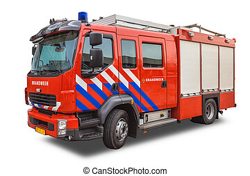 Modern Fire Engine Isolated on White Background - Fire...