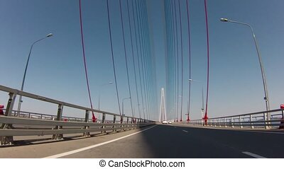 Bridge in russian flag colors. From Vladivostok to Rusky...