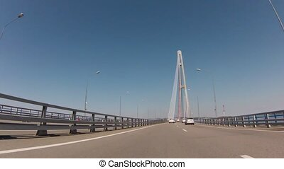 Bridge in russian flag colors From Vladivostok to Rusky...
