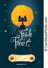 Halloween night: cat on moon and sky background. Card with calli