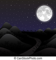 Night landscape in the full moon