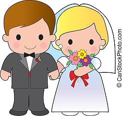 Bride and Groom - Illustration of an adorable groom and his...