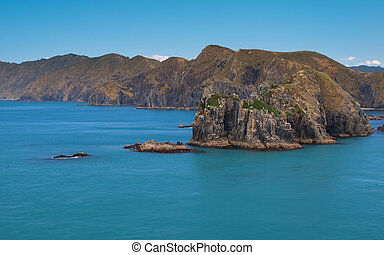 Perano Head and Raukawa Rock seen from the Ferry to Picton,...
