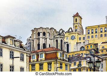 Open roof of Igreja do Carmo ruins in Lisbon, Portugal